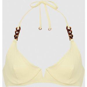 Reiss Myra - Underwired Halterneck Bikini Top In Yellow, Womens, Size 8 Reiss97803474008, Yellow