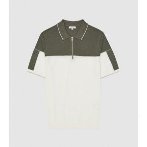 Reiss Nelson - Tipped Zip Neck Polo Shirt In Ecru/sage, Mens, Size Xxl Reiss51815002005, Ecru/sage