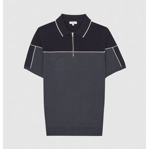 Reiss Nelson - Tipped Zip Neck Polo Shirt In Navy/ivory, Mens, Size M Reiss51815030002, Navy/ivory