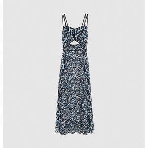 Reiss Nerissa - Printed Midi Dress In Blue, Womens, Size 6 Reiss29822045006, Blue