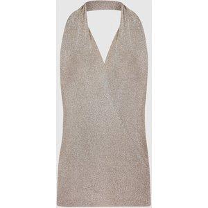 Reiss Nicola - Metallic Knitted Halterneck Top In Mink, Womens, Size Xl Reiss55704667004, Mink