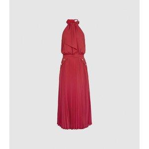 Reiss Nina - Halterneck Pleated Midi Dress In Pink, Womens, Size 14 Reiss29823866014, Pink