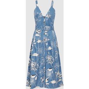Reiss Noah - Printed Button Through Midi Dress In Blue, Womens, Size 6 Reiss29847845006, Blue