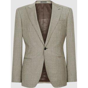 Reiss Oak - Slim Fit Checked Blazer In Brown, Mens, Size 46 Beige And Brown Reiss11704914046, Beige and Brown