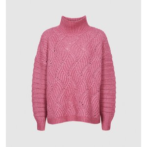 Reiss Ola - Oversized Cable Knit Jumper In Pink, Womens, Size S Reiss55816766001, Pink