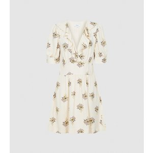 Reiss Olive - Floral Printed Mini Dress In Ivory, Womens, Size 12 Cream Reiss29644101012, Cream