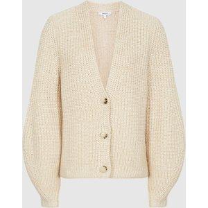 Reiss Olivia - Cotton-blend Short Cardigan In Neutral, Womens, Size M Cream Reiss55712003002, Cream