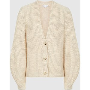 Reiss Olivia - Cotton-blend Short Cardigan In Neutral, Womens, Size Xl Cream Reiss55712003004, Cream