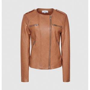 Reiss Ossie - Leather Collarless Biker Jacket In Tan, Womens, Size 10 Reiss17804514010, Tan