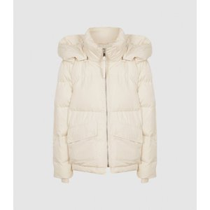 Reiss Paige - Puffer Jacket With Removable Hood In Cream, Womens, Size Xs Reiss65705802000, Cream