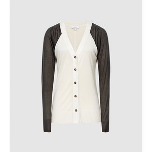 Reiss Paloma - Fine Jersey Cardigan In Neutral/charcoal, Womens, Size S Reiss45822403001, Neutral/Charcoal