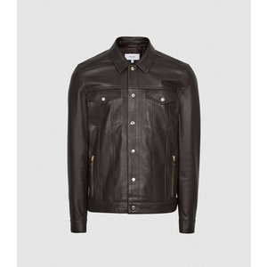 Reiss Paradise - Leather Trucker Jacket In Chocolate, Mens, Size Xl Brown Reiss13802815004, Brown