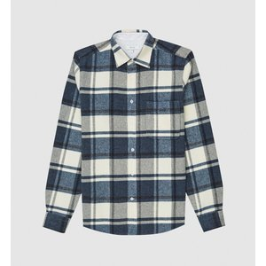 Reiss Paulie - Checked Overshirt In Airforce Blue, Mens, Size Xxl Reiss32708733005, Airforce Blue