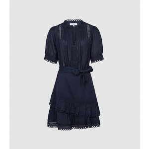 Reiss Paulina - Embroidered Mini Dress In Blue, Womens, Size 6 Reiss29846945006, Blue