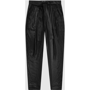 Reiss Pennie - Tapered Shimmer Trousers In Black, Womens, Size 10 Reiss26606320010, Black