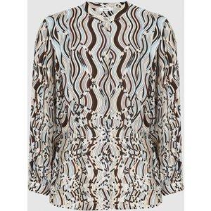 Reiss Penny - Swirl-print Blouse In Blue Print, Womens, Size 18 Reiss46715237018, Blue Print