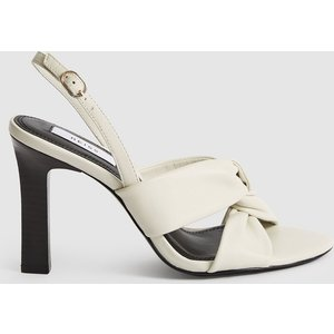 Reiss Phoebe - Leather Twist Front Slingbacks In Off White, Womens, Size 3 Reiss85812101036, Off White