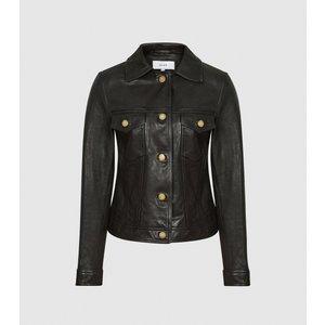 Reiss Piper - Leather Trucker Jacket In Black, Womens, Size 8 Reiss17702120008, Black