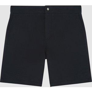Reiss Pique - Pique Cotton Jersey Shorts In Navy, Mens, Size M Reiss24800430002, Navy