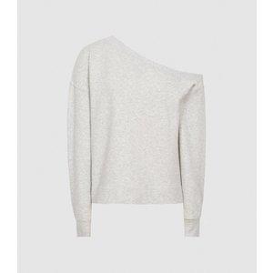 Reiss Poppy - Off-the-shoulder Loungewear Sweatshirt In Grey Marl, Womens, Size S Reiss86803443001, Grey Marl