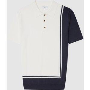 Reiss Ray - Colour Block Polo Shirt In Ecru, Mens, Size Xs Reiss51720502000, Ecru
