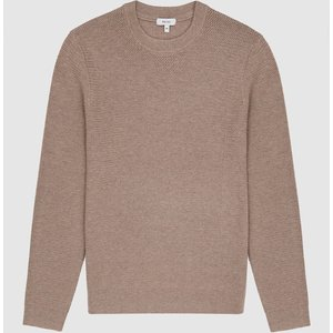 Reiss Redman - Textured Crew Neck Jumper In Taupe, Mens, Size M Reiss51600316002, Taupe