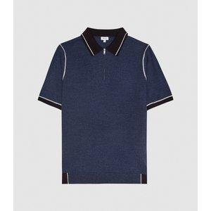 Reiss Regis - Tipped Zip Neck Polo Shirt In Navy, Mens, Size L Reiss51818830003, Navy