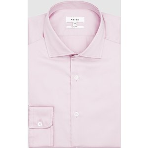 Reiss Remote Slim - Cotton Satin Slim Fit Shirt In Pink, Mens, Size S Reiss31601466001, Pink
