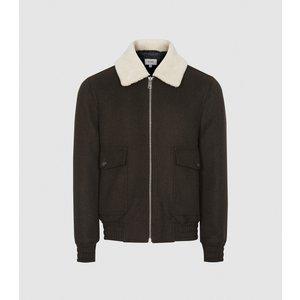 Reiss Rivet - Wool Blend Bomber Jacket In Green, Mens, Size L Reiss14706050003, Green