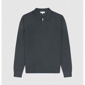Reiss Robertson - Merino Wool Zip Neck Polo Shirt In Pewter, Mens, Size M Reiss51721643002, Pewter