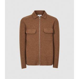 Reiss Roehampton - Zip Through Jacket In Camel, Mens, Size Xs Brown Reiss51710213000, Brown