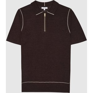 Reiss Roller - Tipped Zip Neck Polo Shirt In Chocolate, Mens, Size Xxl Brown Reiss51705915005, Brown