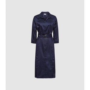 Reiss Romey - Cotton Shirt Dress In Navy, Womens, Size 18 Reiss29490130018, Navy