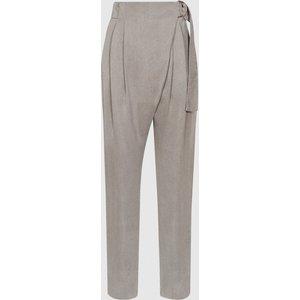 Reiss Rosalie - Wrap-front Trousers In Grey, Womens, Size 4 Reiss26708143004, Grey