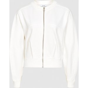 Reiss Rosalyn - Cropped Jersey Zip Through Jacket In Cream, Womens, Size L Reiss45708002003, Cream
