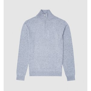 Reiss Royal - Cashmere Zip Neck Jumper In Airforce Blue, Mens, Size Xxl Reiss51722033005, Airforce Blue