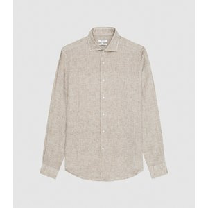Reiss Ruban - Linen Regular Fit Shirt In Mid Brown, Mens, Size S Reiss32603214001, Brown