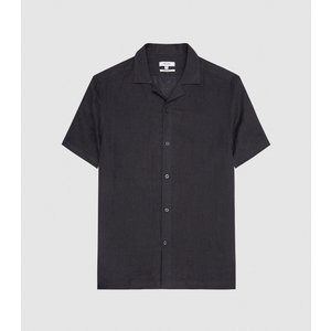 Reiss Rufus - Linen Cuban Collar Shirt In Black, Mens, Size Xxl Reiss32812920005, Black
