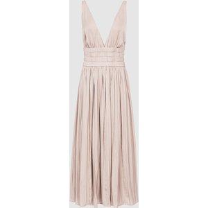 Reiss Saffy - Plunge Neckline Midi Dress In Blush, Womens, Size 6 Blush Pink Reiss29838667006, Blush Pink