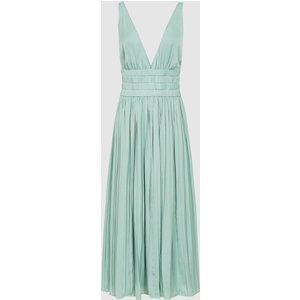 Reiss Saffy - Plunge Neckline Midi Dress In Seafoam, Womens, Size 10 Seafoam Green Reiss29838653010, Seafoam Green