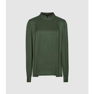 Reiss Sarah - High Neck Blouse In Green, Womens, Size 10 Reiss46714550010, Green