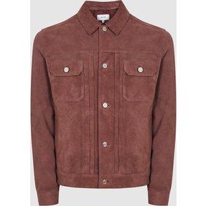 Reiss Scott - Suede Western Jacket In Plum, Mens, Size Xs Purple Reiss13700661000, Purple