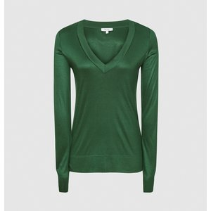 Reiss Selena - Jersey V-neck Top In Green, Womens, Size S Reiss45805250001, Green