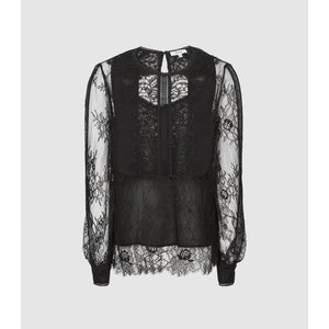 Reiss Serena-sheer Lace Blouse - Semi Sheer Lace Blouse In Black, Womens, Size 8 Reiss46716820008, Black