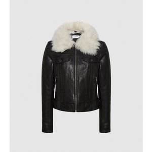 Reiss Shellie - Leather Jacket With Shearing Collar In Black, Womens, Size 12 Reiss17801420012, Black