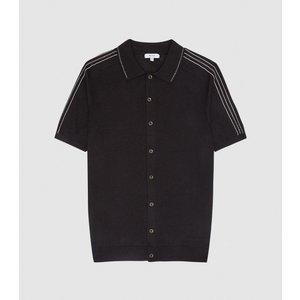 Reiss Silvio - Knitted Button Through Polo Shirt In Black, Mens, Size Xxl Reiss51706220005, Black