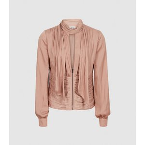 Reiss Skye - Pussy Bow Fitted Blouse In Pink, Womens, Size 14 Reiss46621666014, Pink