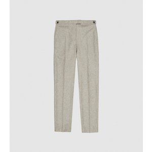 Reiss Slice - Slim Fit Pinstripe Trousers In Oatmeal, Mens, Size 30 Grey And White Reiss21706111030, Grey and White