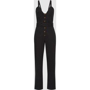 Reiss Sola - Button Through Jumpsuit In Black, Womens, Size 14 Reiss33804020014, Black