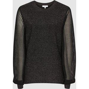 Reiss Stella - Metallic Semi-sheer Sleeve Top In Black, Womens, Size M Reiss55716620002, Black